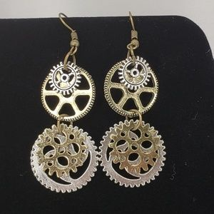 Jewelry - Steampunk Antique Bronze& Silver Gear Earrings